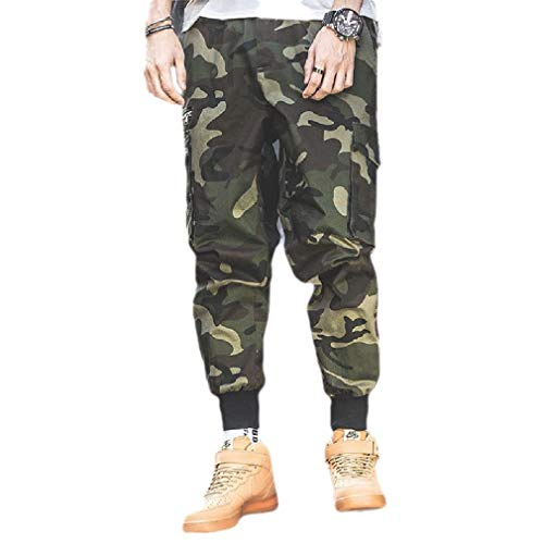 CuteRose Men Outdoor Camo Tapered Oversized Multi-Pockets Cargo Work Pant 3 S 3-pocket-cargo