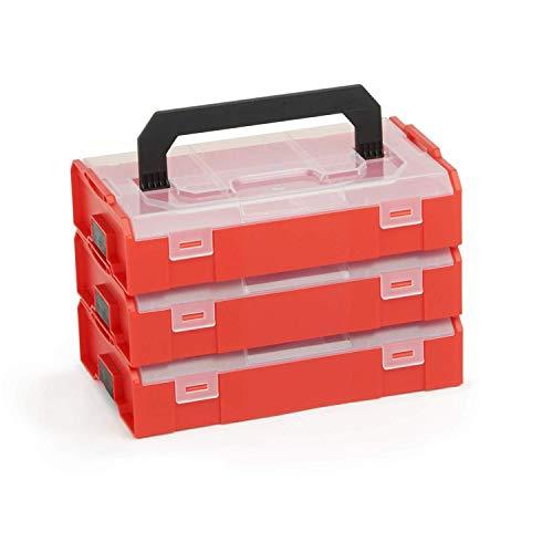 L-BOX Mini Set | 3x L BOXX Mini rot mit transparentem Deckel | Sortimentskasten Schrauben und Dübel | Erstklassige Sortierboxen für Kleinteile Rote Mini-system