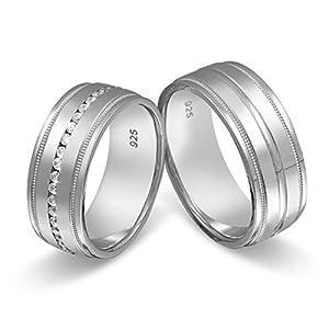 Flame Partner-Ringe 2 Partnerringe massiv 925er Sterling Silber 42 Zirkonia weiss -gratis Gravur S-AP-HD
