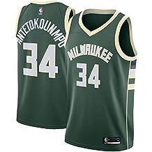 Camiseta de Manga Corta Romanba NBA MilwaukeeBucks Antetokounmpo 34 Swingman para Hombre (Verde, L