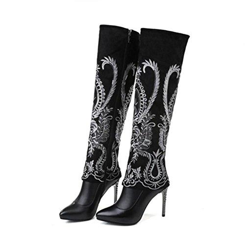 Best 4U® Damenschuhe aus echtem Leder Kniehohe Stiefel Spitz-Stickerei Casual Style Herbst Winter schwarz , 38 (Leder Kniehohe Wedge Stiefel)