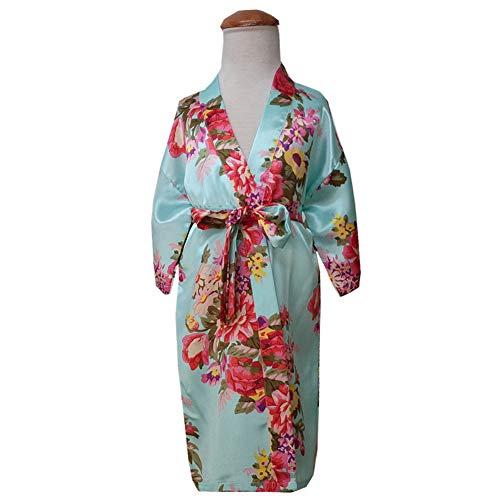 strimusimak Kinder Mädchen Nachtwäsche Kimono Bademantel Bademäntel Pyjamas Floral gedruckt Light Blue Size 8