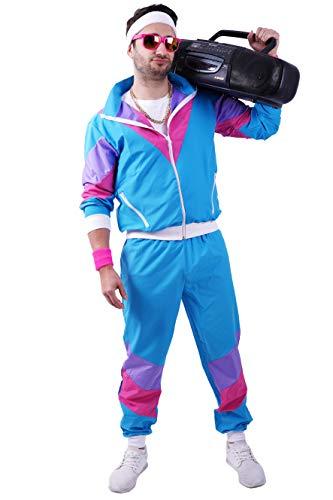 Herren Für Kostüm Sport - FetteParty1A - 80-er 90-er Jahre Erwachsenenkostüm, Deluxe Trainingsanzug - Jogginganzug, Jacke und Hose, Mehrfarbig Blau/Lila Mottoparty Karneval JGA (XXL)