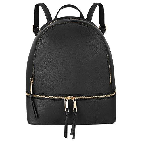CRAZYCHIC - Borsa Zainetto Piccolo Zip Donna - Zaino Casual Daypack Backpack PU Pelle - Borsetta a Spalla Molti Scomparti - Borsa a Mano Shopping Viaggio Città Moda Elegante - Nero