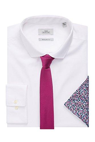next Herren Hemd mit Krawatte und Einstecktuch Im Set– Normale Passform, Einfache Manschette Weiß Kragen 42 cm Regular (Weiß-mandarin-kragen-shirt)