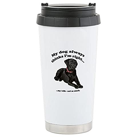 CafePress - Black Lab Vs Wife - Stainless Steel Travel Mug, Insulated 16 oz. Coffee & Tea Tumbler