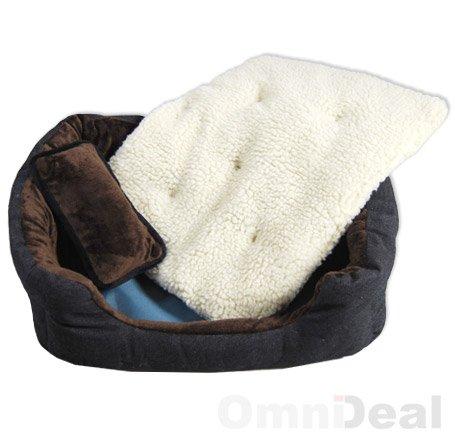 Hundebett Tierbett Braun Weiß Lammfellimitat ca. 52x40x16cm mit Innenkissen + Schmusekissen + Pipi-Schutz-Unterlage - 6