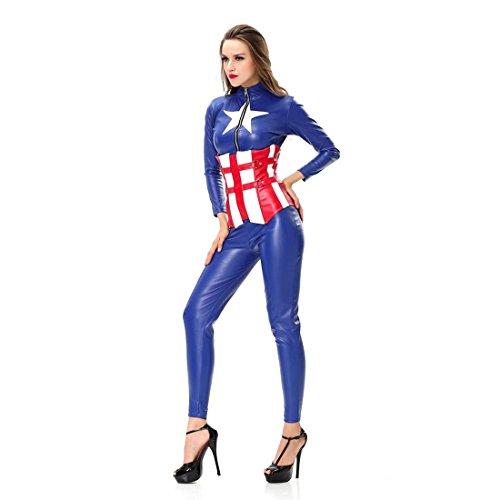er Kostüm America Captain Kostüm blau und rot ,Size S (Sexy Frauen Holloween Kostüme)