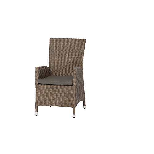 Siena Garden Dining Sessel Teramo, 68x60x100cm, Gestell: Aluminium, Fläche: Gardino-Geflecht in bronze, Kissenbezug aus Polypropylen mit 280g/m² in grau-braun