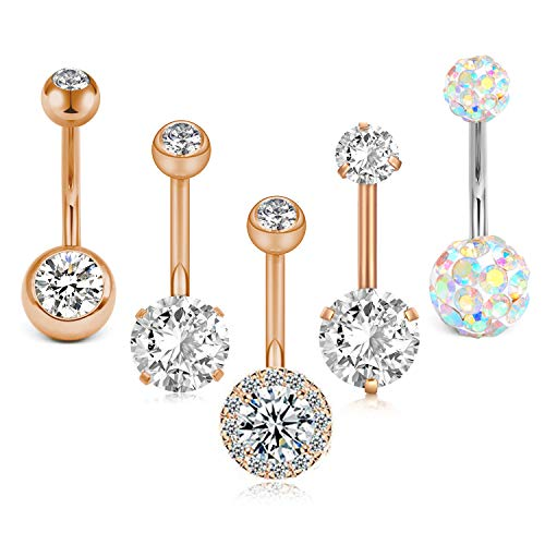 Crdifu 5er Bauchnabelpiercing Barbell Set 14 Gauge 10mm Stab Chirurgenstahl Zirkonia Piercing Bauch Schmuck (Belly Button Ring 14 Gauge)