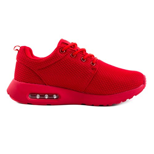 Unisex Damen Laufschuhe Schnür Sneaker Sport Fitness Turnschuhe Rot