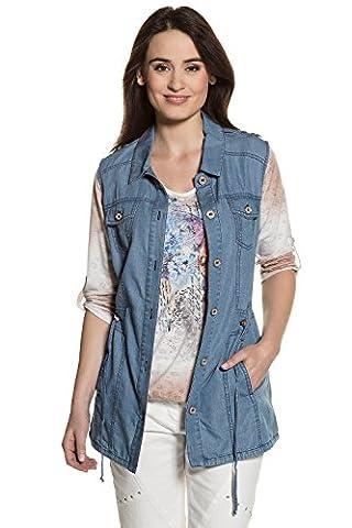 GINA_LAURA Damen bis Größe XXL   Jeans-Weste   lange Weste in Denim-Optik   lange Form mit Knopf-Verschluss   tailliert   Hemdkragen   bleached-blau blue bleached XL 711024