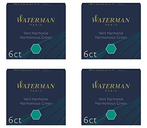 Waterman - 4 astucci di 6 cartucce internazionali corte, per penna stilografica, inchiostro verde armonia