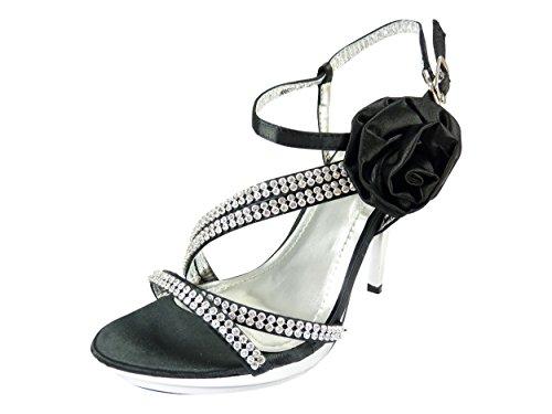 Chaussures de mariage ouvertes à fleur, strass et talons hauts Noir