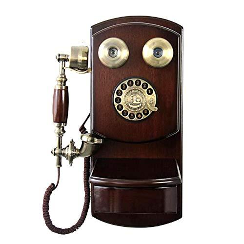 Sanmubo Nostalgie Festnetztelefone mit Traditionellem Wählscheibe und Metallklingel Retro-Telefon aus Holz und Zinklegierung Wandhängendes Klassisches Wand-Telefon