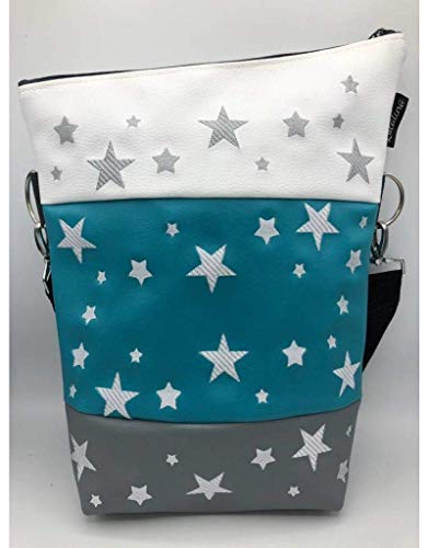 Handtasche viele Sterne Tasche Foldover Schultertasche