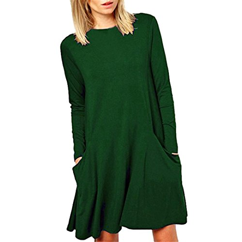 Robe, Tonsee Femmes Vrac Grande poche Casual manches longues col O Ruffles Mini robe Vert