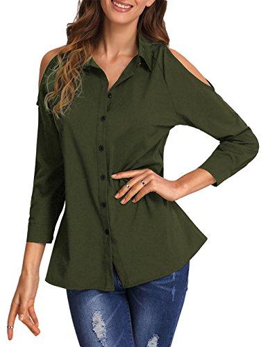ELFIN® Damen Bluse Cold Shoulder Cut Out Hemdbluse Modern Loose Fit Langarm Oberteile Armeegrün