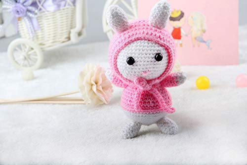 Weiß-Rosa Rose Baby Hase Bunny Toy Häkeln Stricken Süchtig Kit Amigurumi Kinder Handwerk DIY Geschenk 15cm