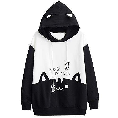 Hoodie Für Frauen, Evansamp Japanese Style Niedliche Katze Und Fisch Print Color Block Small Style Pullover Top Für Teen Girls(Schwarz,XL) Block-print-jacke