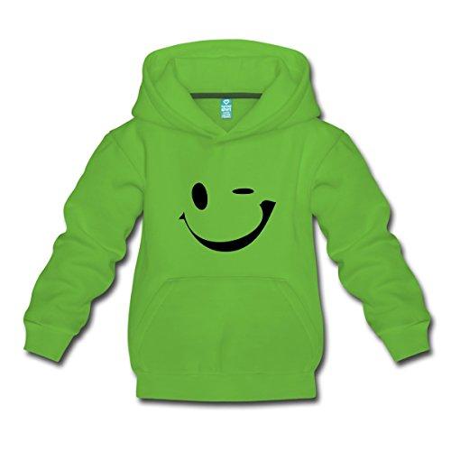 Zwinkern Kinder Premium Hoodie, 152/164 (12-14 Jahre), Hellgrün (Smilie Gesicht)