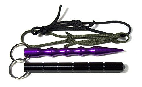 DYD 2x Kubotan (Doppelpack) zur Selbstverteidigung mit Schlüsselring und extrem reißfeste Fallschirmschnur, auch als Notfallhammer zu verwenden, 100% legal/ 2 Stück ! (Doppelpack) Kubotan In 2 Verschiedenen Formen Und Farben / Druckverstärker Zur Selbstverteidigung Als Schlüsselanhänger Mit Notfallhammer mit Schlüsselring und extrem reißfeste Fallschirmschnur (Violett+Schwarz)