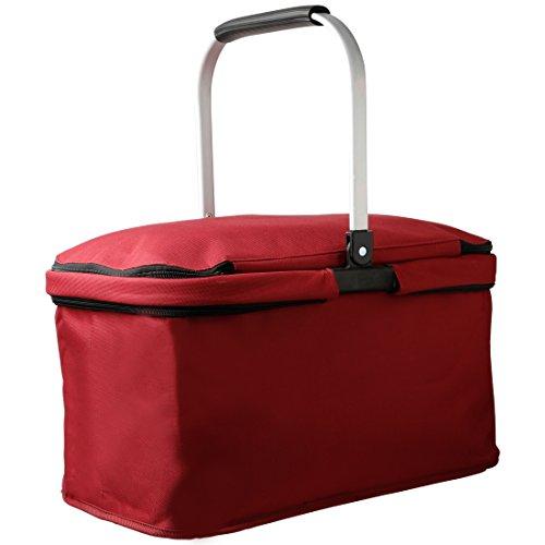 levivo 331800000122 thermique Cabas pliable, cadre en aluminium, fermeture Lave-vaisselle, plastique, rouge, 48 x 23 x 29 cm