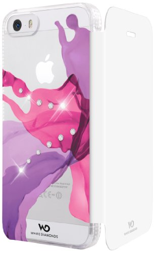 White Diamonds Liquids -  Cover Flip Case con Swarovski Elements per Apple iPhone 5/5S, Bianco/ Rosa Bianco/Rosa