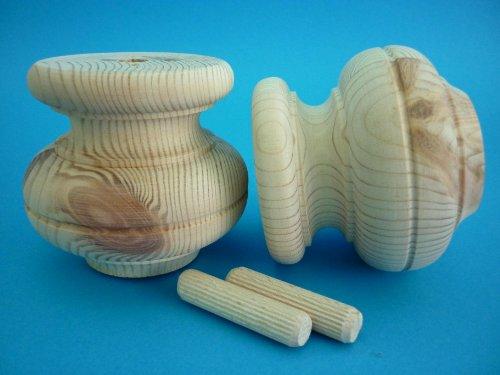 Set Massivholz Sessel (Set Holzfüße - Möbelfüße - Schrankfüße - Astkiefer 90/80 mm Kugelfüße)