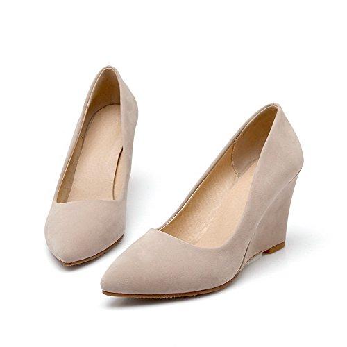 VogueZone009 Damen Mattglasbirne Hoher Absatz Spitz Schließen Zehe Pumps Schuhe Cremefarben