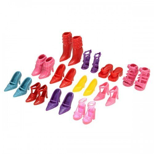 Image of Big Bargain Lovely 12 Pair High Heel Flattie Shoes Boot For Barbie Doll Outfits