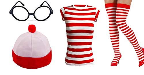 Golden Beads Damen Mädchen rot & weiß Kit Streifen Fun Hirsch Do Faschingsset Nerd Brille Socken Hut Gr. M, rot/weiß (Bead Kits Für Mädchen)
