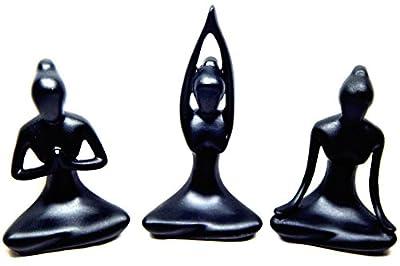 Frauenfiguren im 3er Set Yoga Skulpturen in schwarz aus Kunstharz