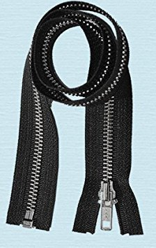 80cm Jacket Zipper ~ YKK #5 Aluminium Metal ~ Medium Weight YKK Zipper ~ Separating Bottom ~ Black (1