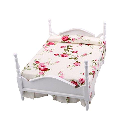 Winomo Premium-Puppenhaus Bett, Nachttisch, Schrank, Tischlampe mit Beleuchtung