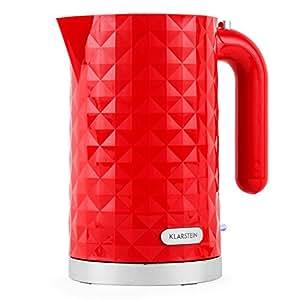 Klarstein Granada Rossa Stilvoller Design Wasserkocher mit roter, Diamant gemusterter Oberfläche (1, 7 l, schnelle 2200W, Abschaltautomatik) rot