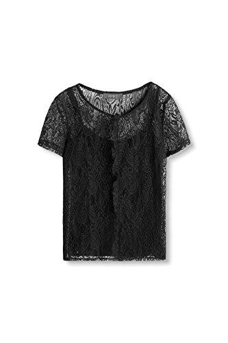 ESPRIT Collection Damen T-Shirt 106eo1k003 Schwarz (Black 001)