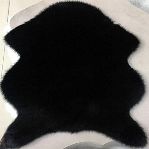 ZYT Waschbar, australische Kunstwollsofamatte, natürliches Kissen, Erkerfenstermatte, schwarz, 60 cm und 90 cm -