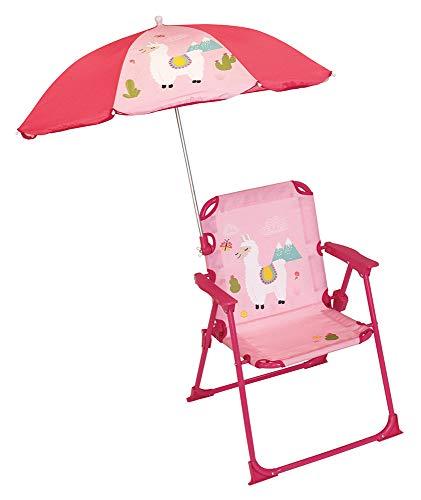 FUN HOUSE 713142 Lama Chaise Pliante avec Parasol pour Enfant, Rose