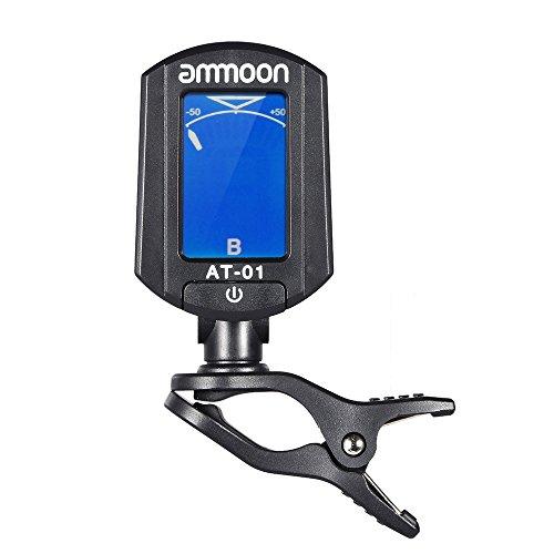 ammoon AT-01 Mini Portátil con Clip Sintonizador Digital Plegable y 360 Grados de Rotación para Guitarra Cromática Bass Ukulele Violín