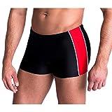 Aquarti Herren Badeshorts Kurz mit Seitlichem Streifen, Farbe: Schwarz / Rot, Größe: L (Taille ca. 92 cm)
