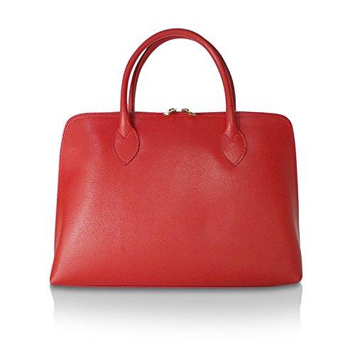 Glamexx24 Damen Umhängetaschen echt Leder Tasche Handtaschen business Bag Schultertaschen Shopper Made in Italy 1.004.1 Rot
