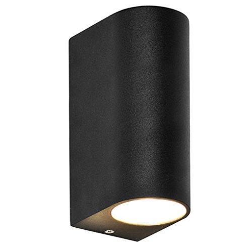 LED Wandleuchte / Wandlampe / Außenleuchte / Up Down / 2-Flammig / Aluminium / Schwarz / Form:H / IP44 / GU10-230V (Warmweiß)