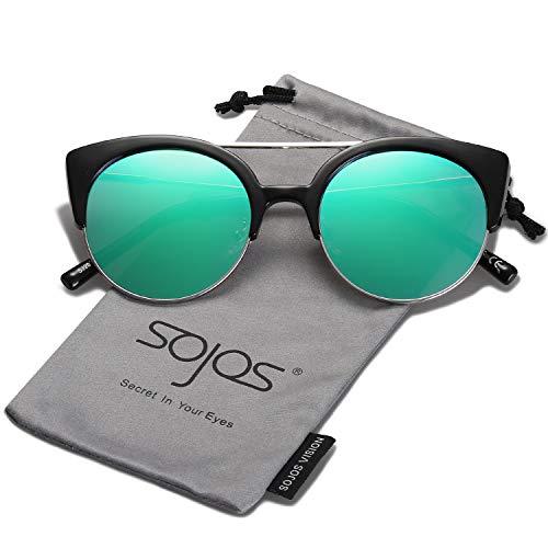 SOJOS Klassische Retro Halb Metall Rahmen Cateye Sonnenbrille Damen SJ2035 mit Schwarz Rahmen/Silber Linse