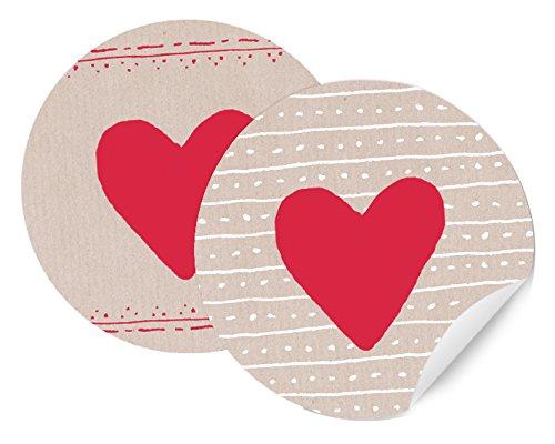 24 Herz Sticker! rotes Herzchen auf creme-farbenem Grund - 2 Motive, runde Geschenkaufkleber, schöne Etiketten, MATTE Papieraufkleber für den Valentinstag, Geburtstage und Geschenkverpackungen -