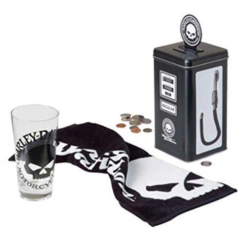 Harley-Davidson Willie G Skull Gas Pump Bank Tall Glass Gift Set, HDL-18755 by Harley-Davidson