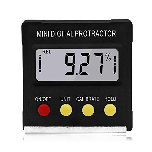 Volwco Digital Inclinometer Protractor, 4 * 90° Medidor de ángulo, Mini Transportador Digital con Base Magnética para carpintería, Reparación, Prueba de Automóvil, Sierra de inglete