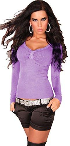 instyle-top-a-manches-longues-uni-col-v-manches-longues-femme-violet-purple-purple-taille-unique