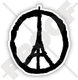 FRIEDEN für PARIS Symbol, Eiffelturm Skizze Beten Sie für Frankreich Franzosen 125mm Sympathie Respekt Aufkleber, Vinyl Sticker