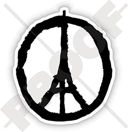 Des Symbol Respekts (FRIEDEN für PARIS Symbol, Eiffelturm Skizze Beten Sie für Frankreich Franzosen 150mm Sympathie Respekt Aufkleber, Vinyl Sticker)